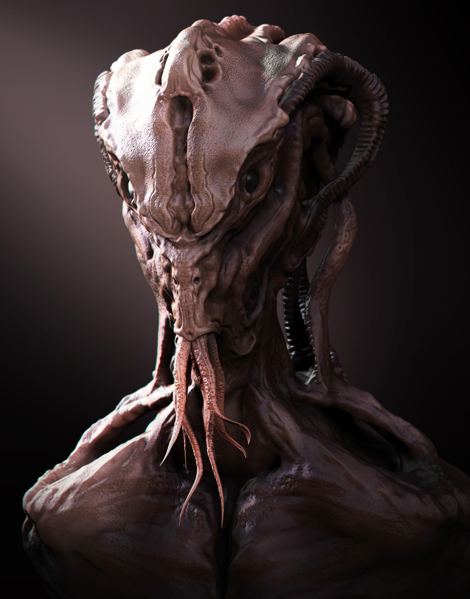 Alien, das im ZBrush Tutorial modelliert wird.