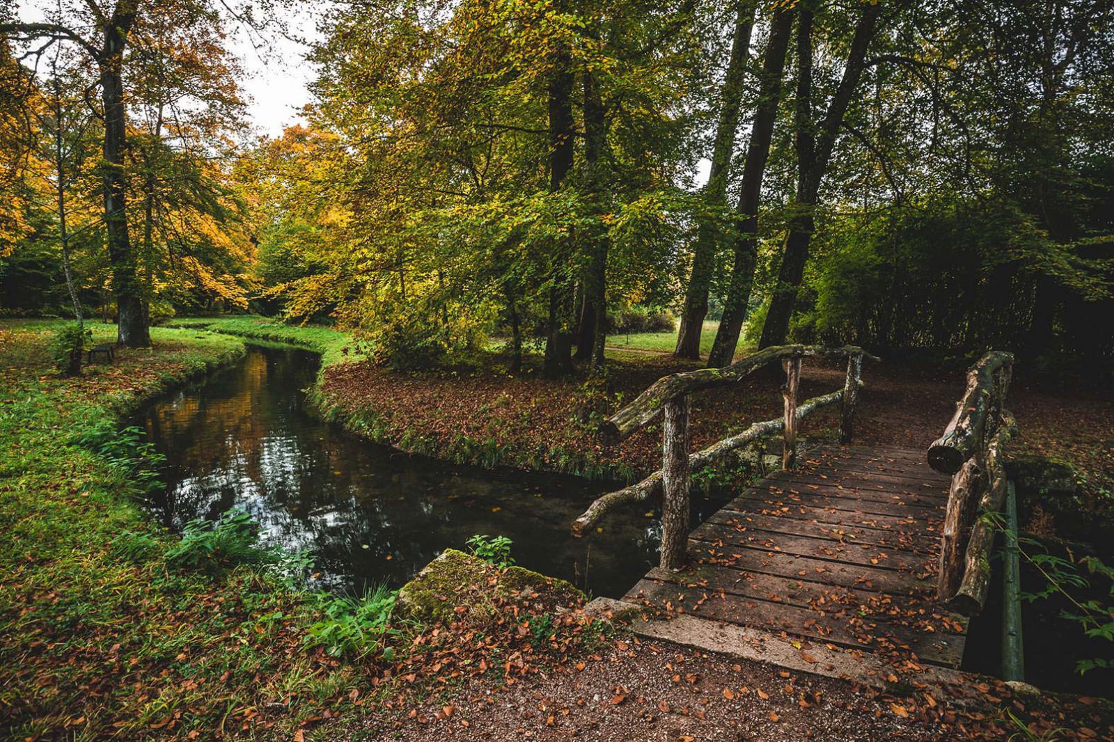 Herbst-Fotografie, Fotoshooting Brücke über Bach
