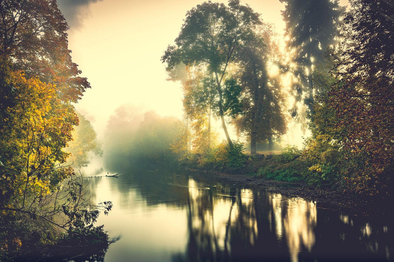 Herbst-Fotografie, Fotoshooting Nebel und Fluss
