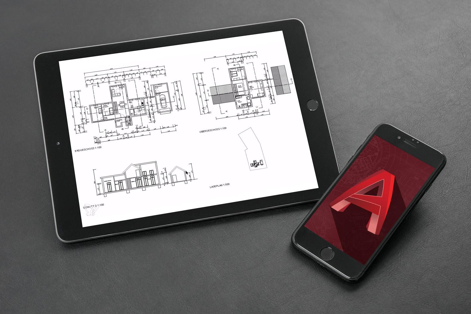 AutoCAD-Tutorial: Einfamilienhaus mit zwei Geschossen im Grundriss, Schnitt und als Lageplan. Diese Zeichnung wird im Kurs erstellt.
