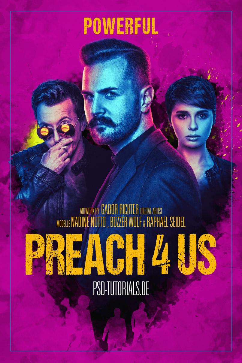 Filmplakat im Stil der Serie Preacher – Photoshop-Tutorial zum Plakat erstellen.