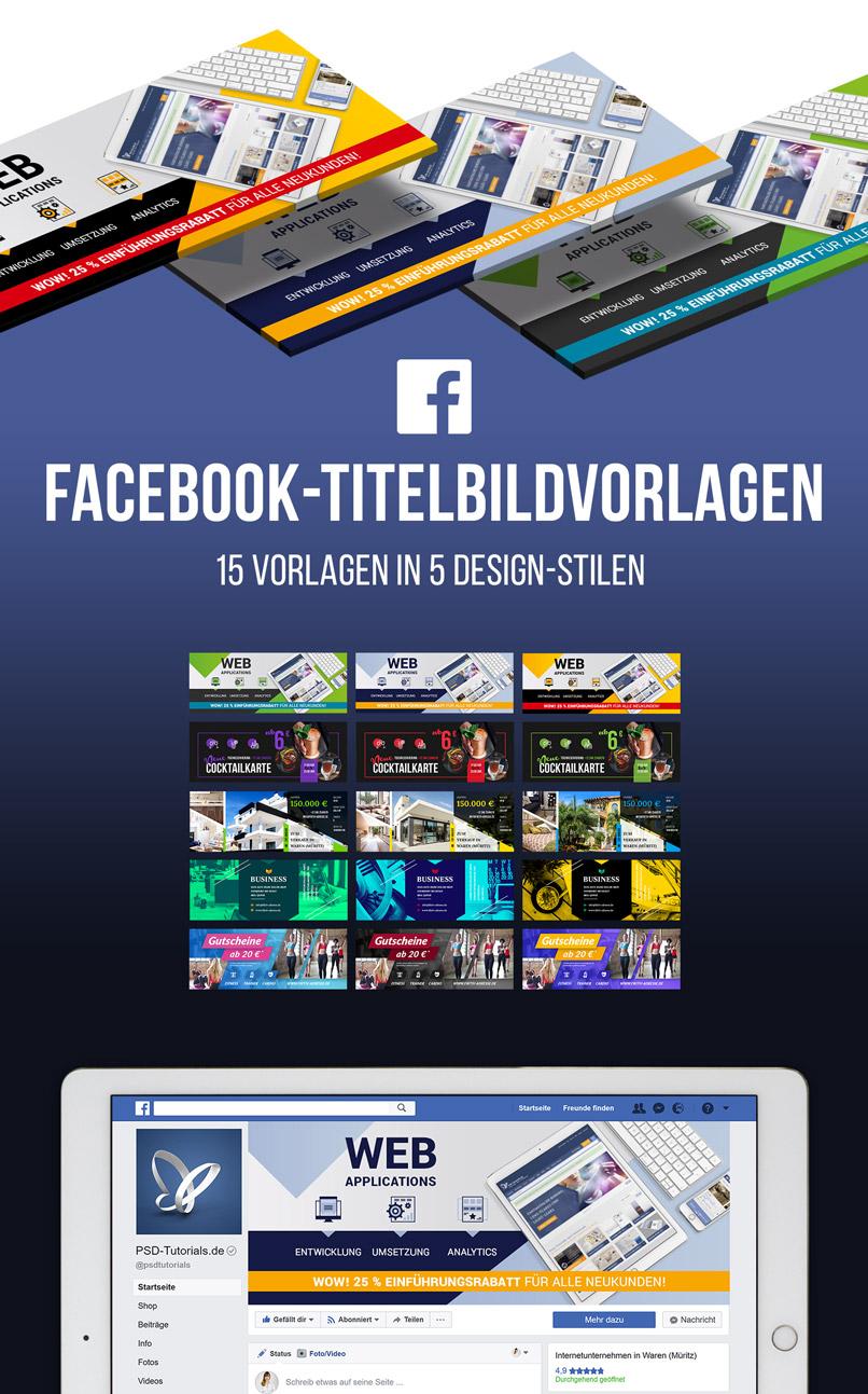 Darstellung der 15 Vorlagen für Facebook-Titelbilder