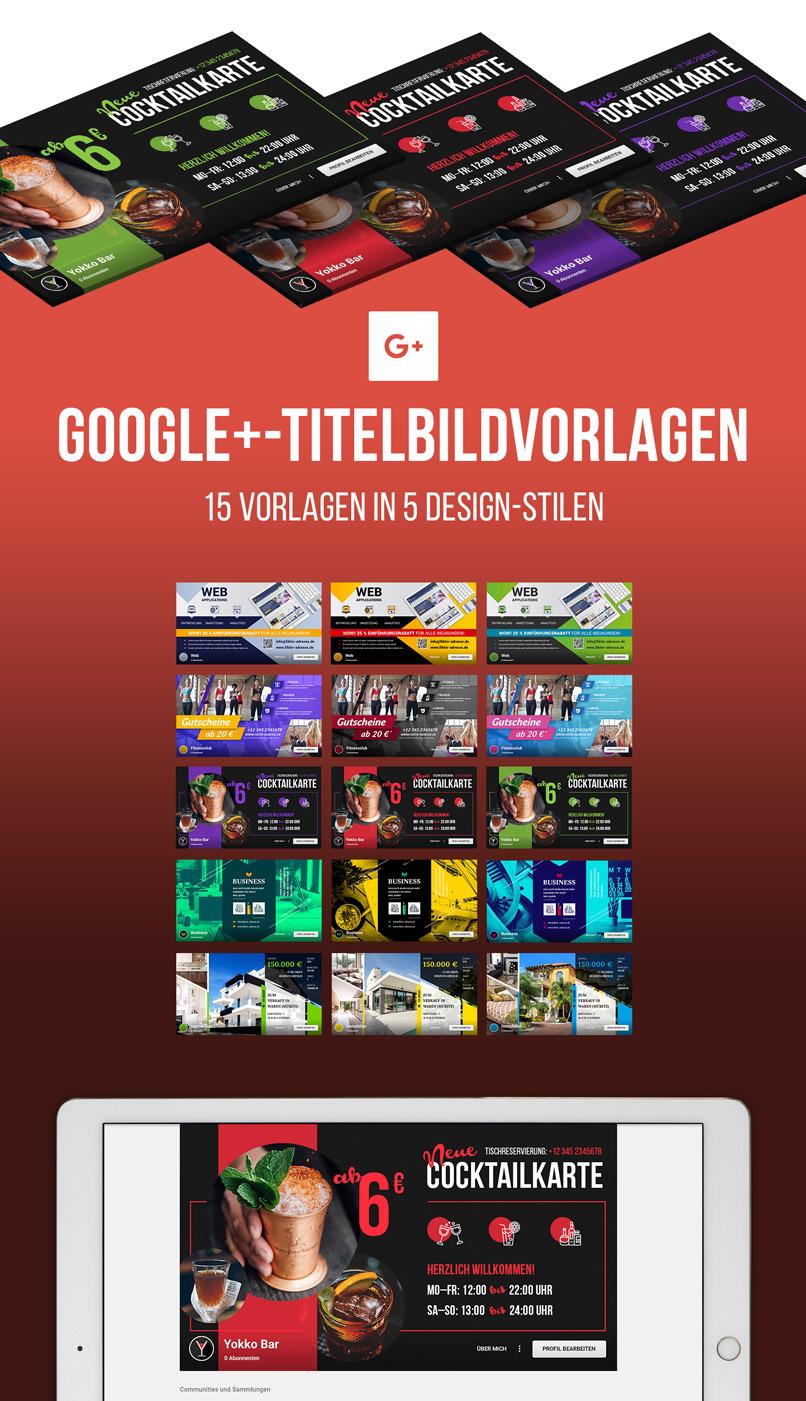 Diese 15 Titelbildvorlagen für Google Plus sind im Paket enthalten