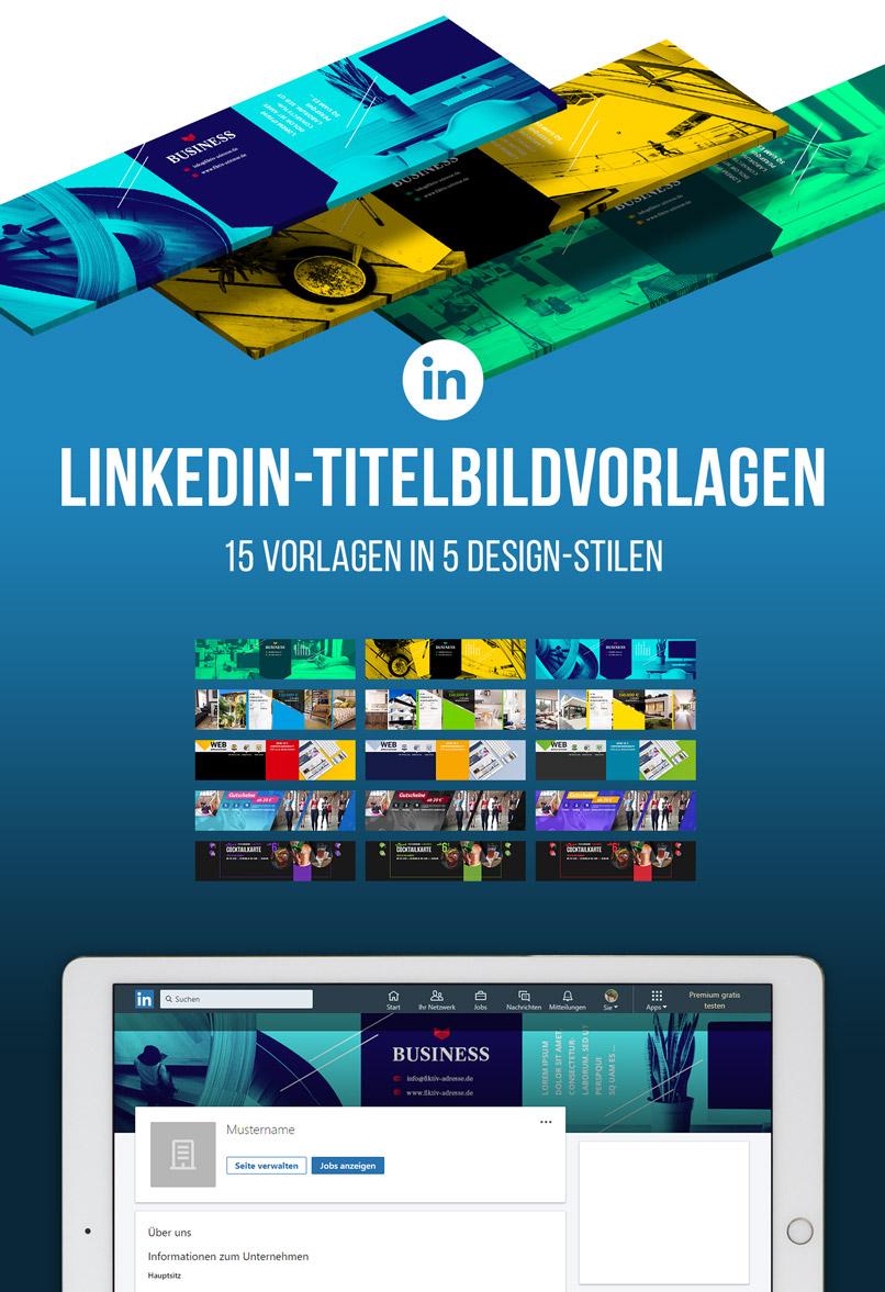 Darstellung der 15 LinkedIn-Titelbildvorlagen