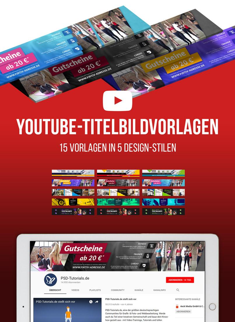 Beispielhafte Darstellung der YouTube-Kanalbilder, die in dem Paket enthalten sind