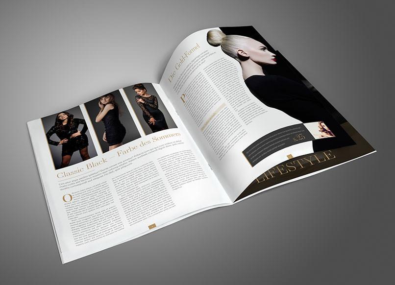 Beispielseiten einer Broschüre, die im InDesign-Tutorial erstellt werden.