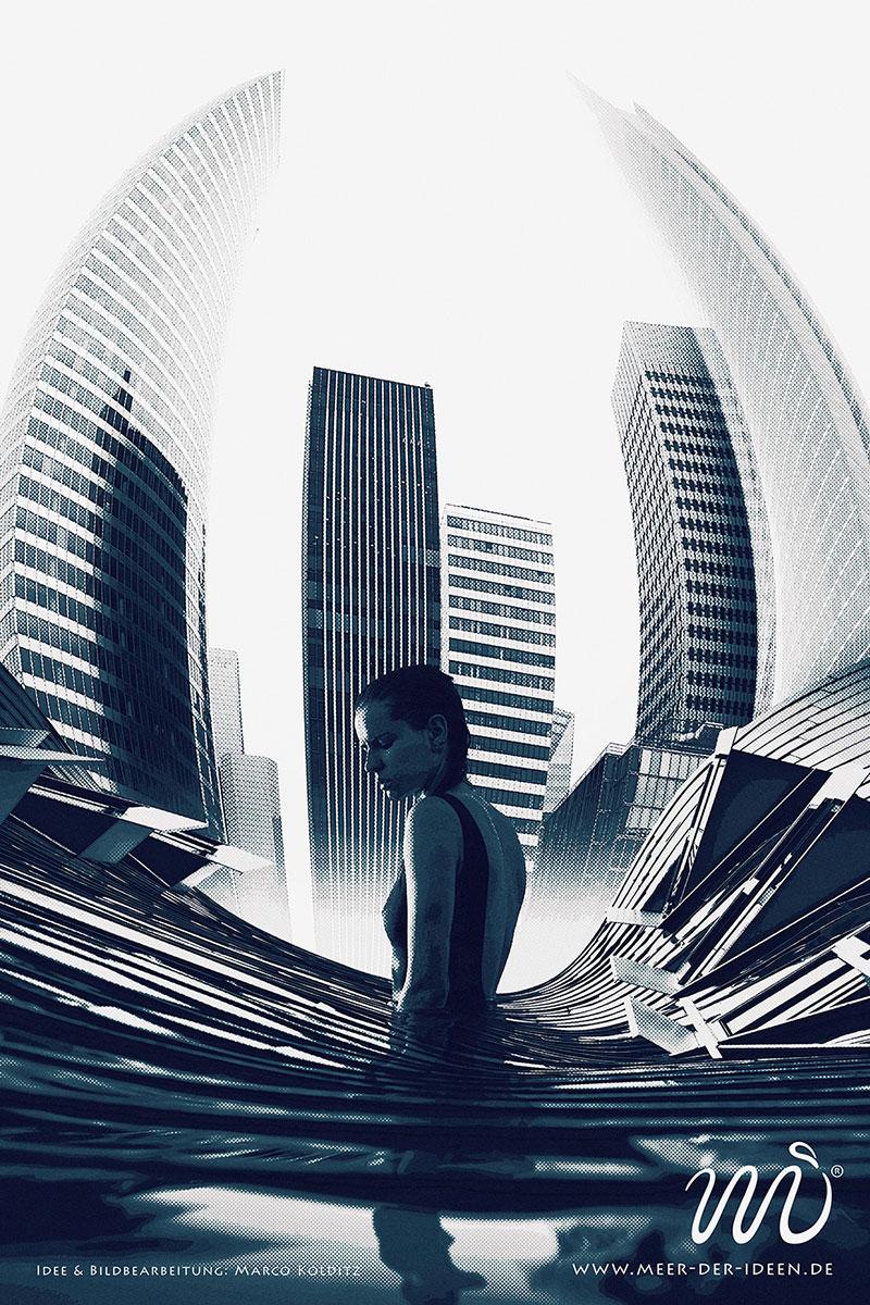 Bildmontage und Artwork mit verformten Häusern im Hintergrund und einer Frau, erstellt in Photoshop