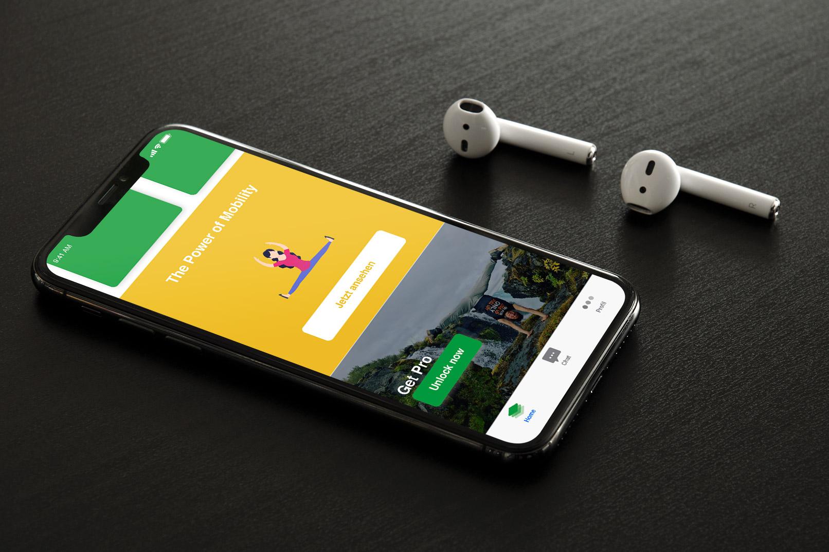 Smartphone mit einer App, deren Design in Sketch entwickelt wurde