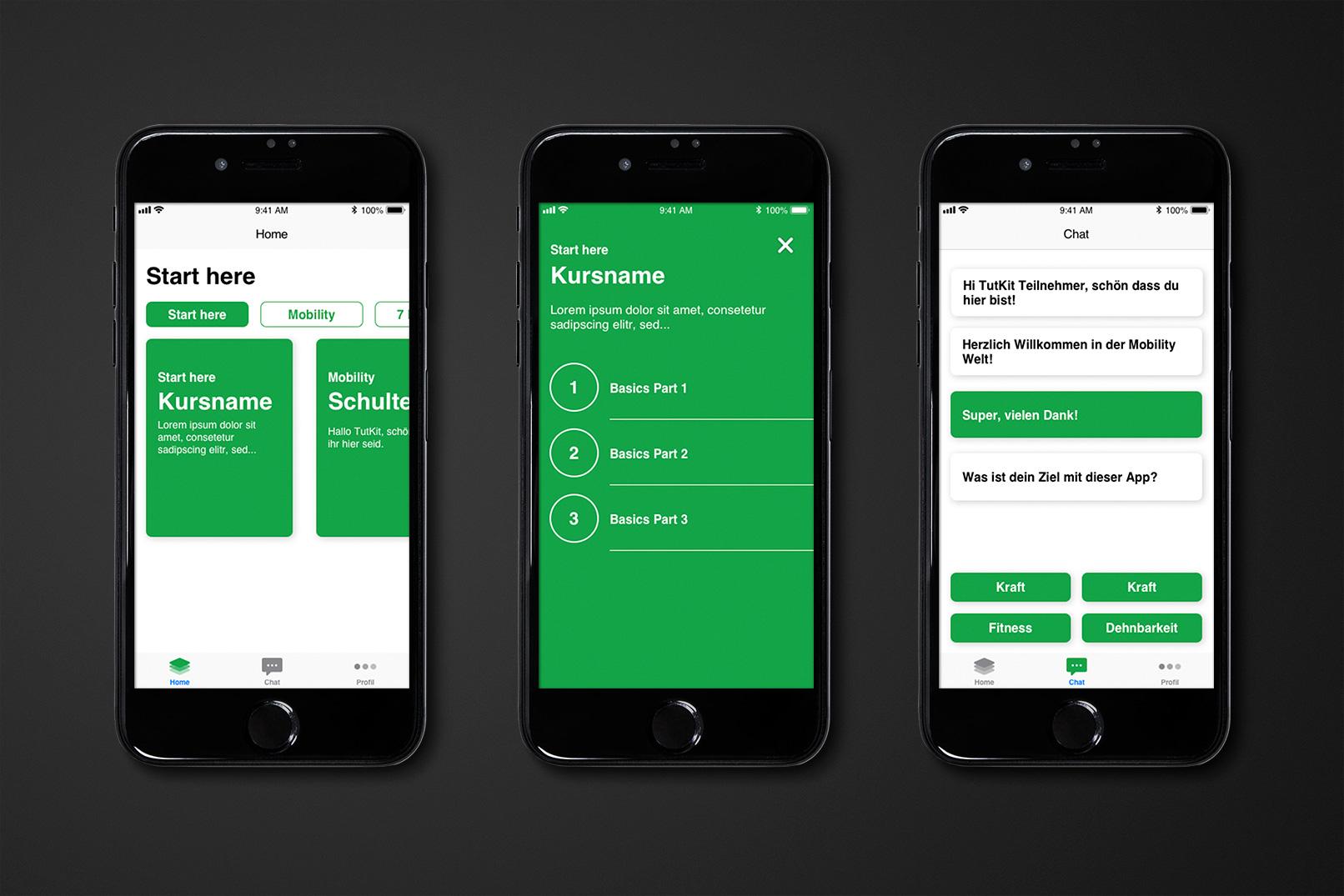 Smartphones mit einer App, deren Design in Sketch entwickelt wurde
