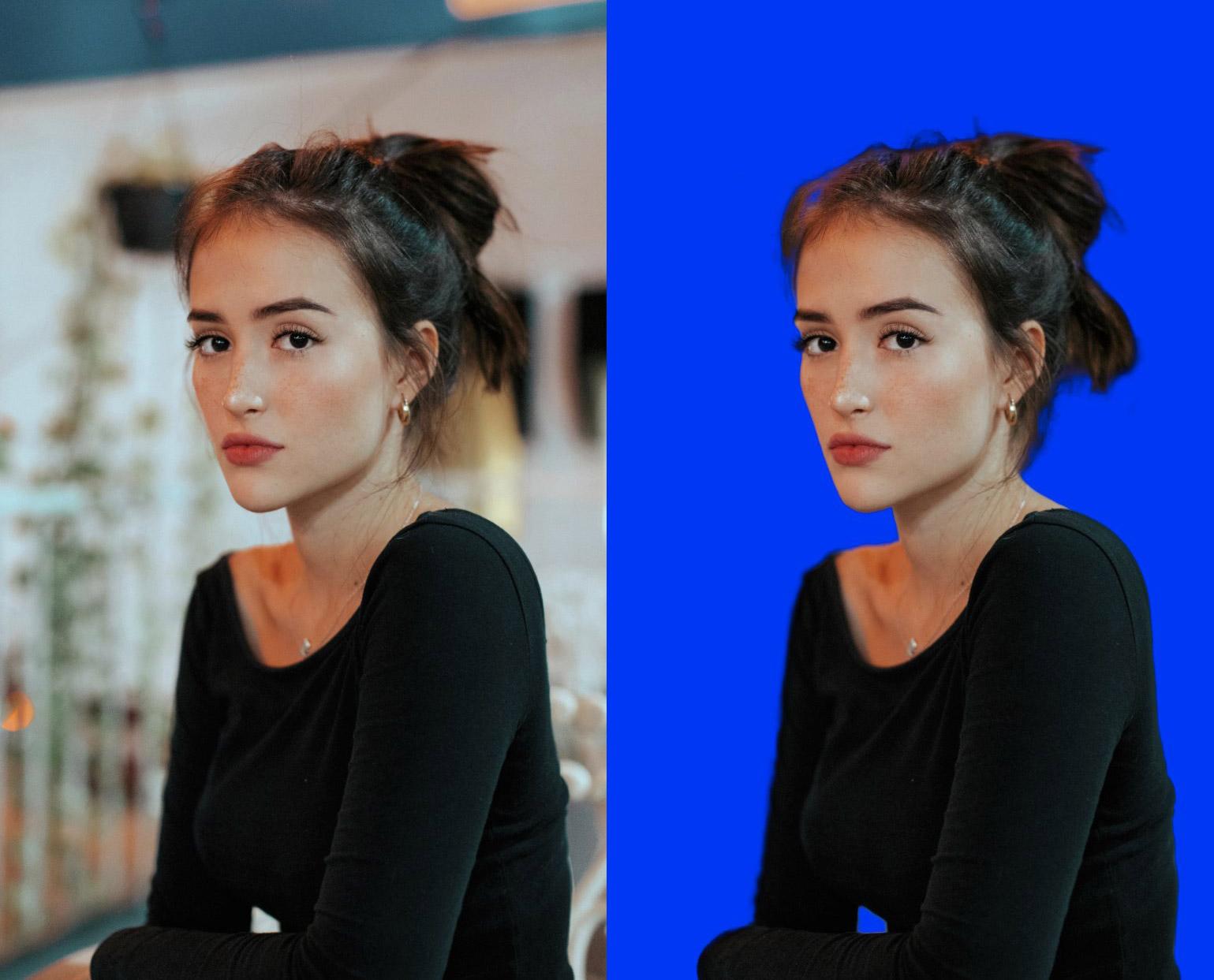 Porträt einer Frau, Original und Freistellung, Freistellen mittels Affinity Photo