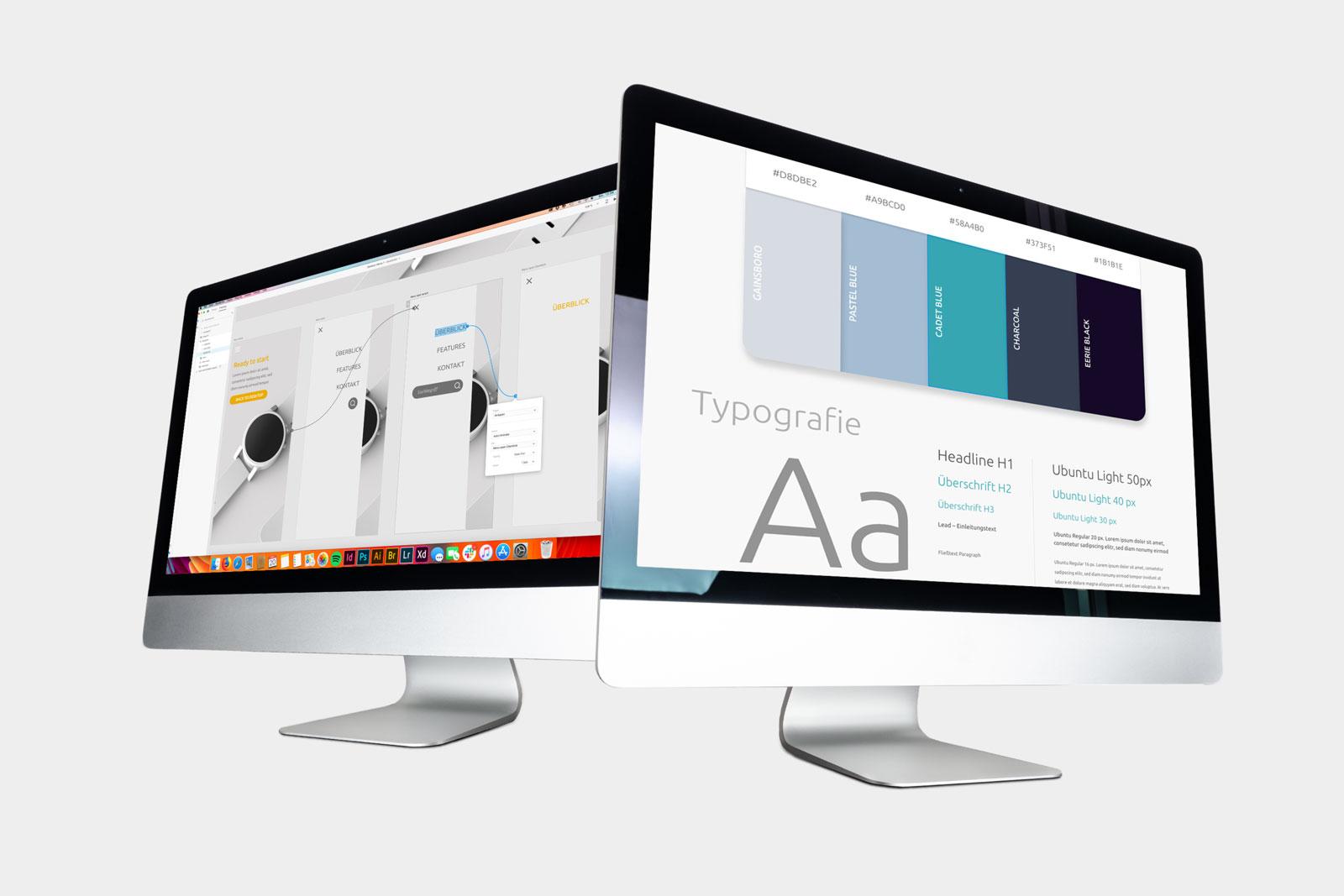 Bildschirme mit UX-Design, Illustration für das Adobe XD-Tutorial – Experience Design und Prototyping