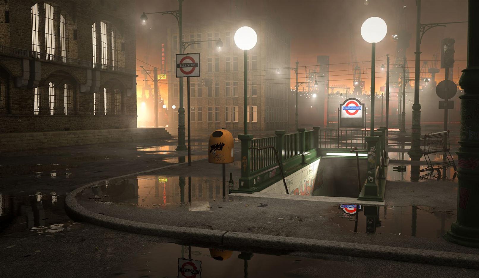 Stadtszene Underground mit U-Bahnstation, erstellt für das Cinema 4D R21-Tutorial mit 3D-Modell, Texturen und Licht