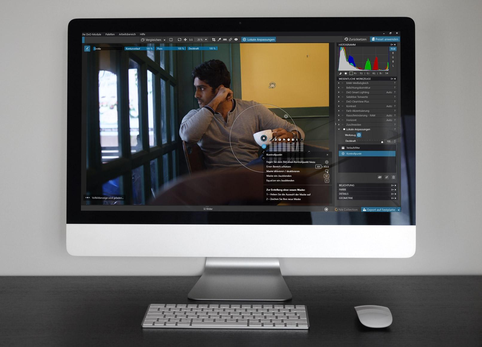 DxO PhotoLab 3, Screenshot auf einem Bildschirm dargestellt.