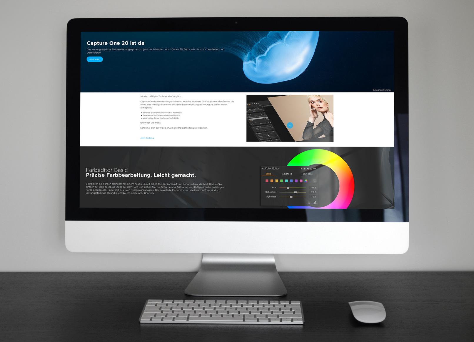 Bildschirm mit einem Screenshot von Capture One Pro