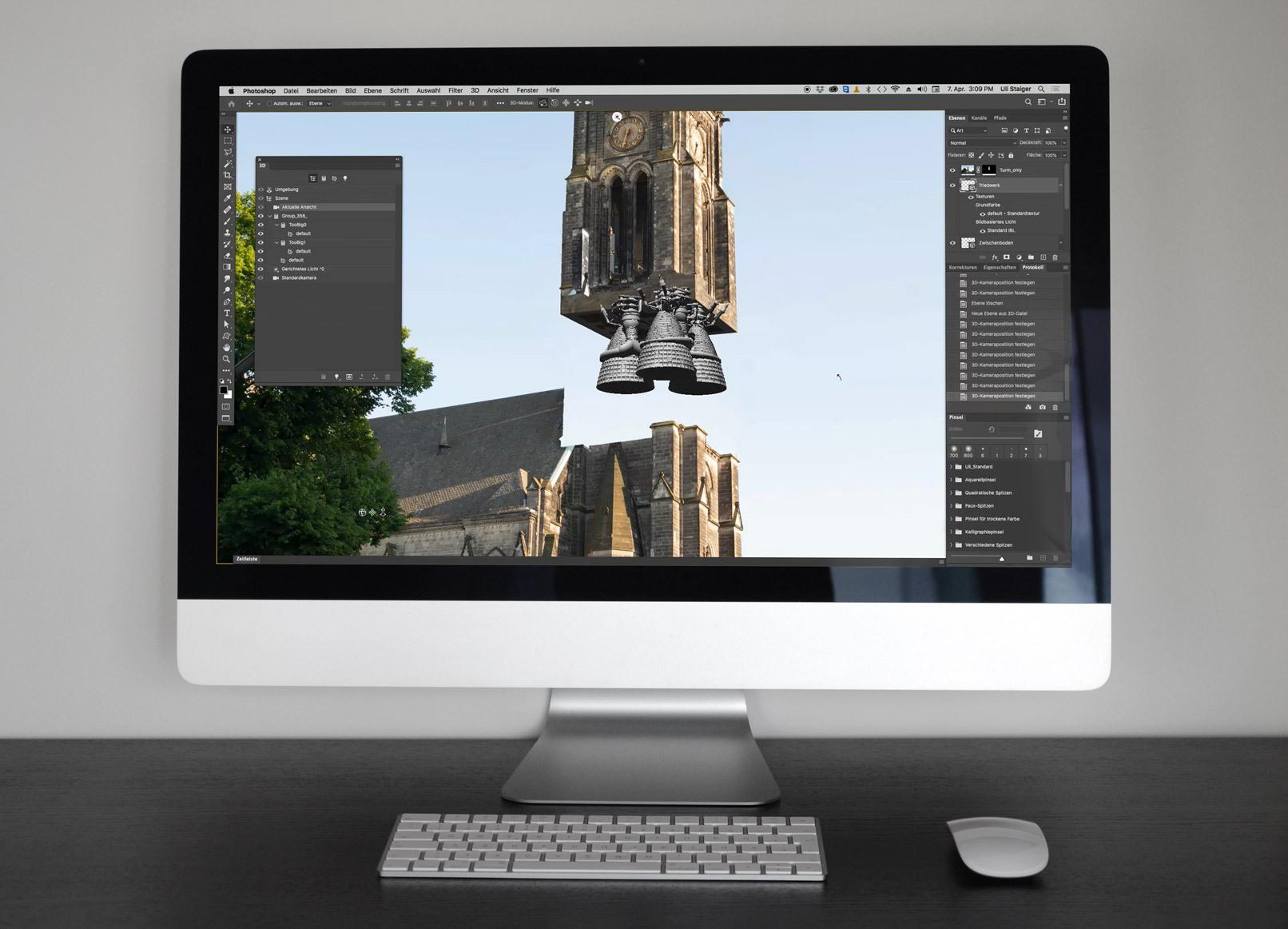 Ausschnitt aus dem Tutorial zu 3D in Photoshop, Kirchturmrakete mit 3D-Triebwerk hebt ab