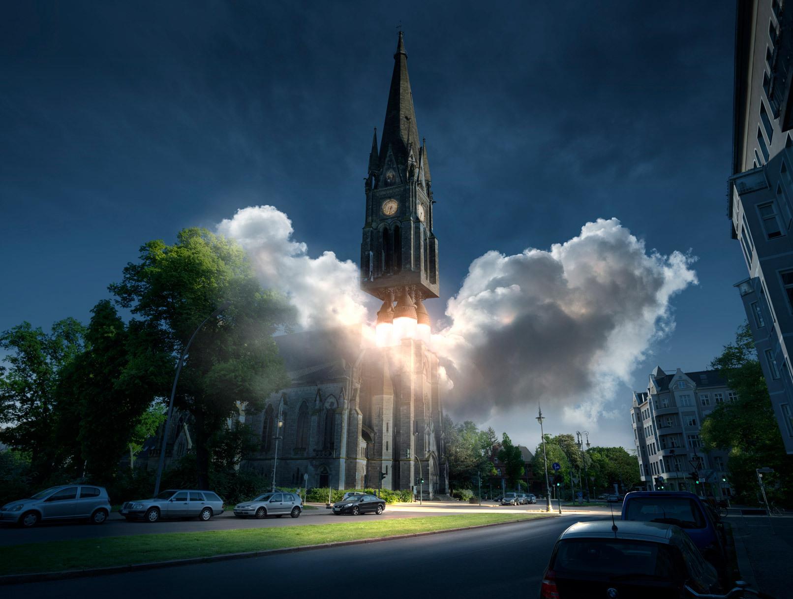 Bildkomposition Take-off, mit 3D-Objekten erstellt in Photoshop. Kirchturm mit Raketenantrieb hebt in den nächtlichen Himmel ab