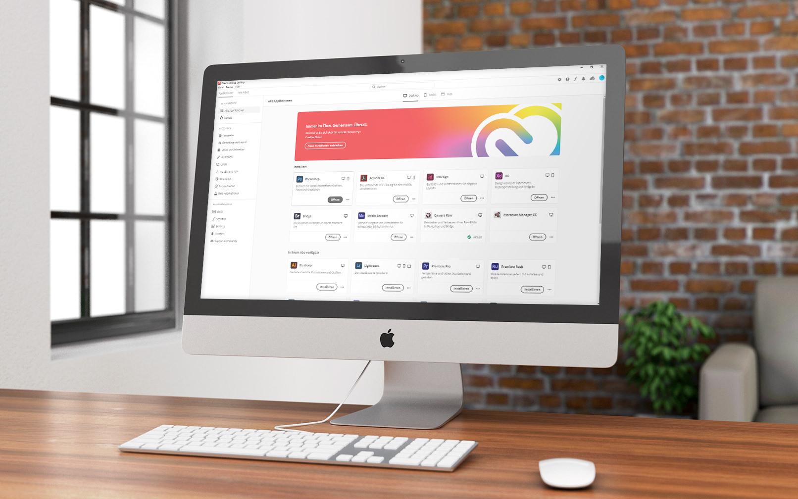 Adobe Creative Cloud Desktop App auf einem Bildschirm