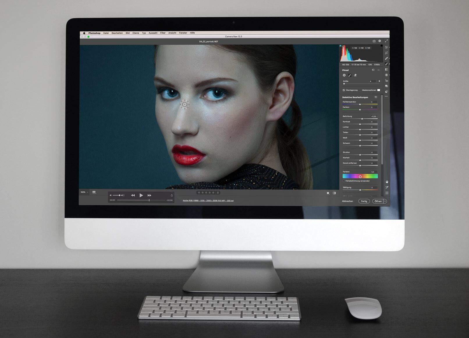 Adobe Camera Raw auf einem Bildschirm