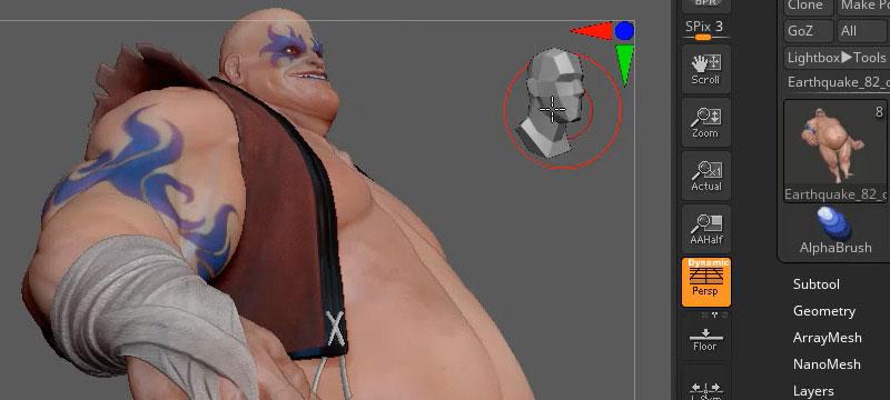 Screenshot ZBrush 2020 mit einem 3D-Modell eines Mannes sowie der neuen CamView-Option