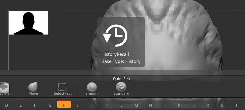 Screenshot ZBrush 2020 mit neuem Silhouetten-Thumbnail und der History-Recall-Funktion