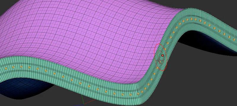 Screenshot ZBrush 2021 mit einer ehemaligen 2D-Fläche, die über Dynamic Thickness eine Dicke erhalten hat