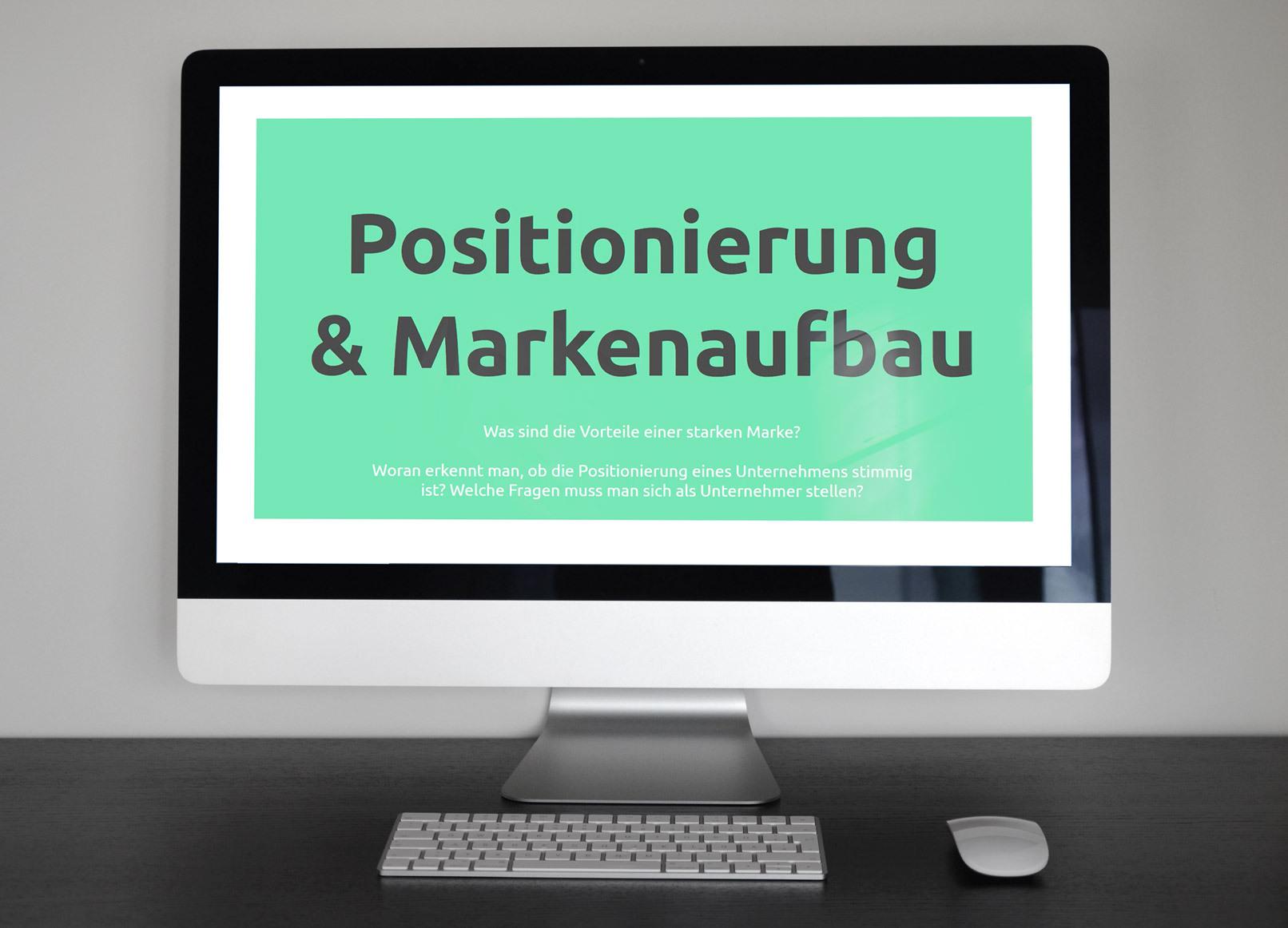 Screenshot aus dem Training Positionierung von Unternehmen und Markenaufbau auf einem Bildschirm