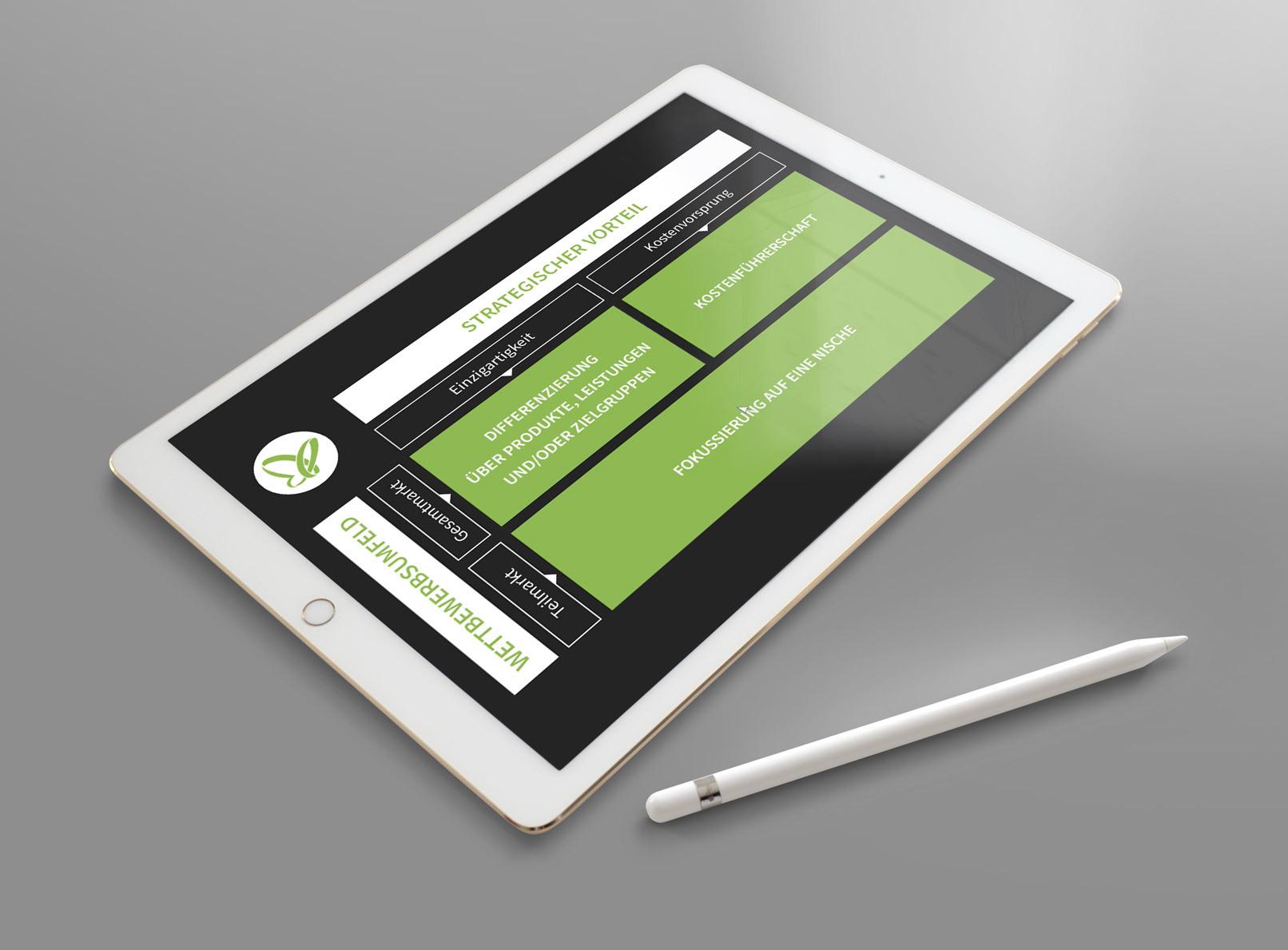 Positionierung von Unternehmen und Markenaufbau: Screenshot aus dem Kurs auf einem Tablet