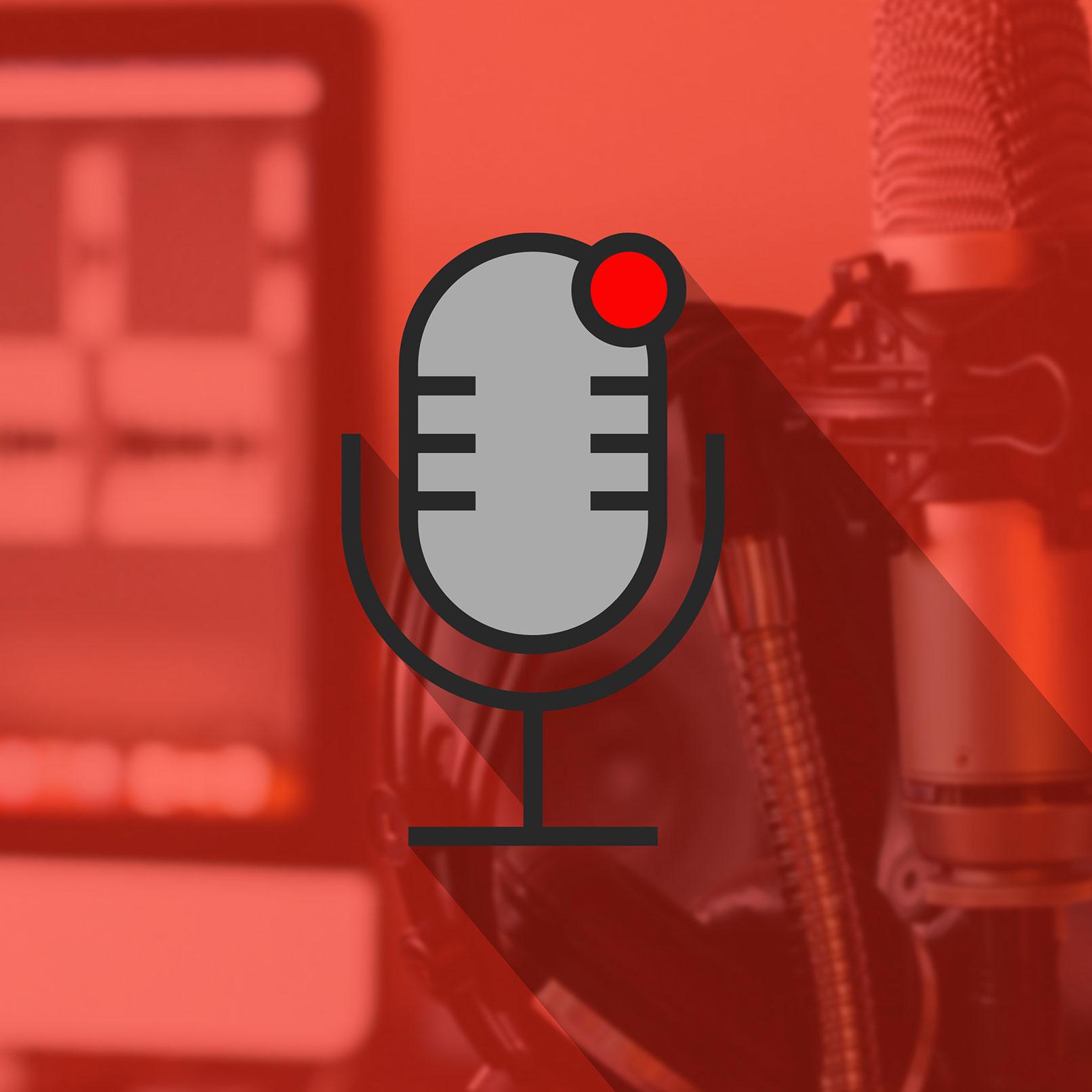 Icon eines Mikrofons vor dem Foto eines Mikrofons