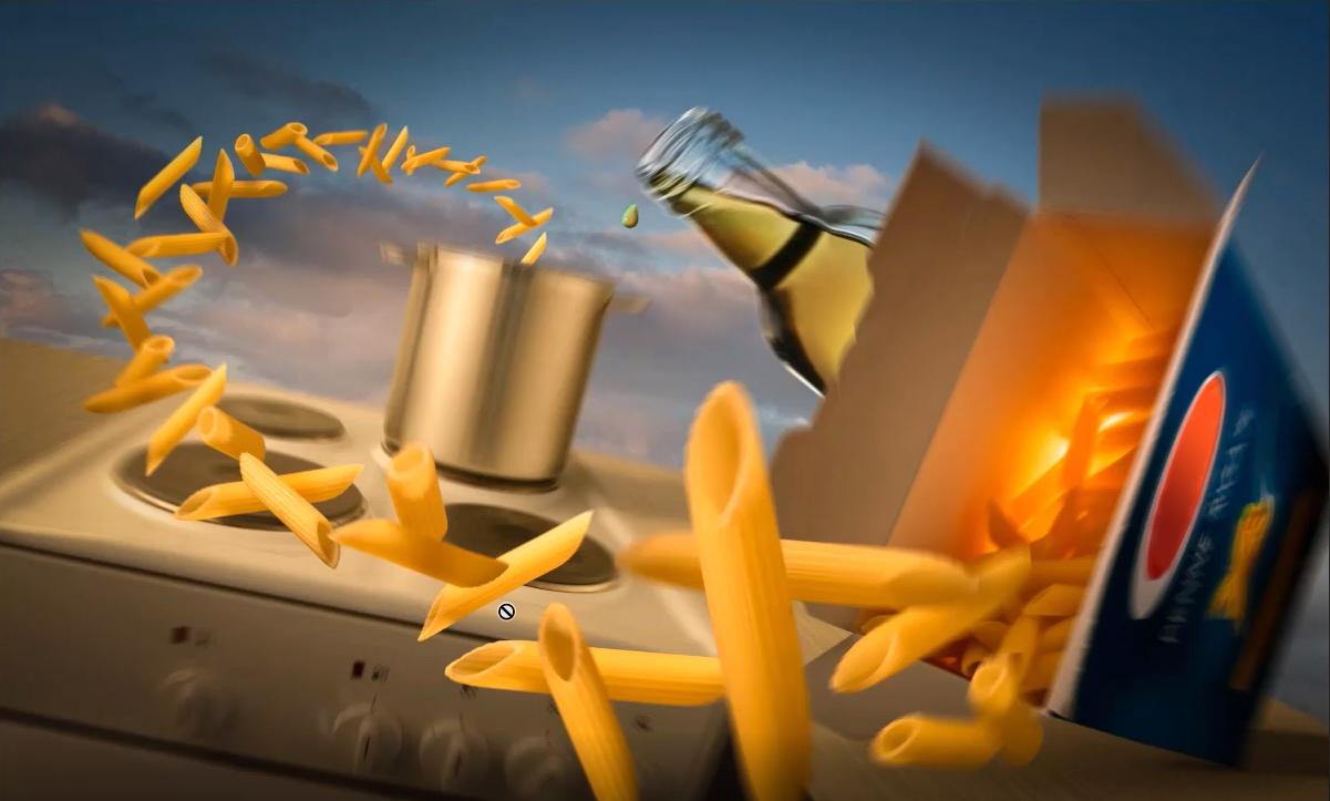 Composing mit einer Pasta-Verpackung und fliegenden Nudeln, das während des Adobe Photoshop-Tutorials entwickelt wird