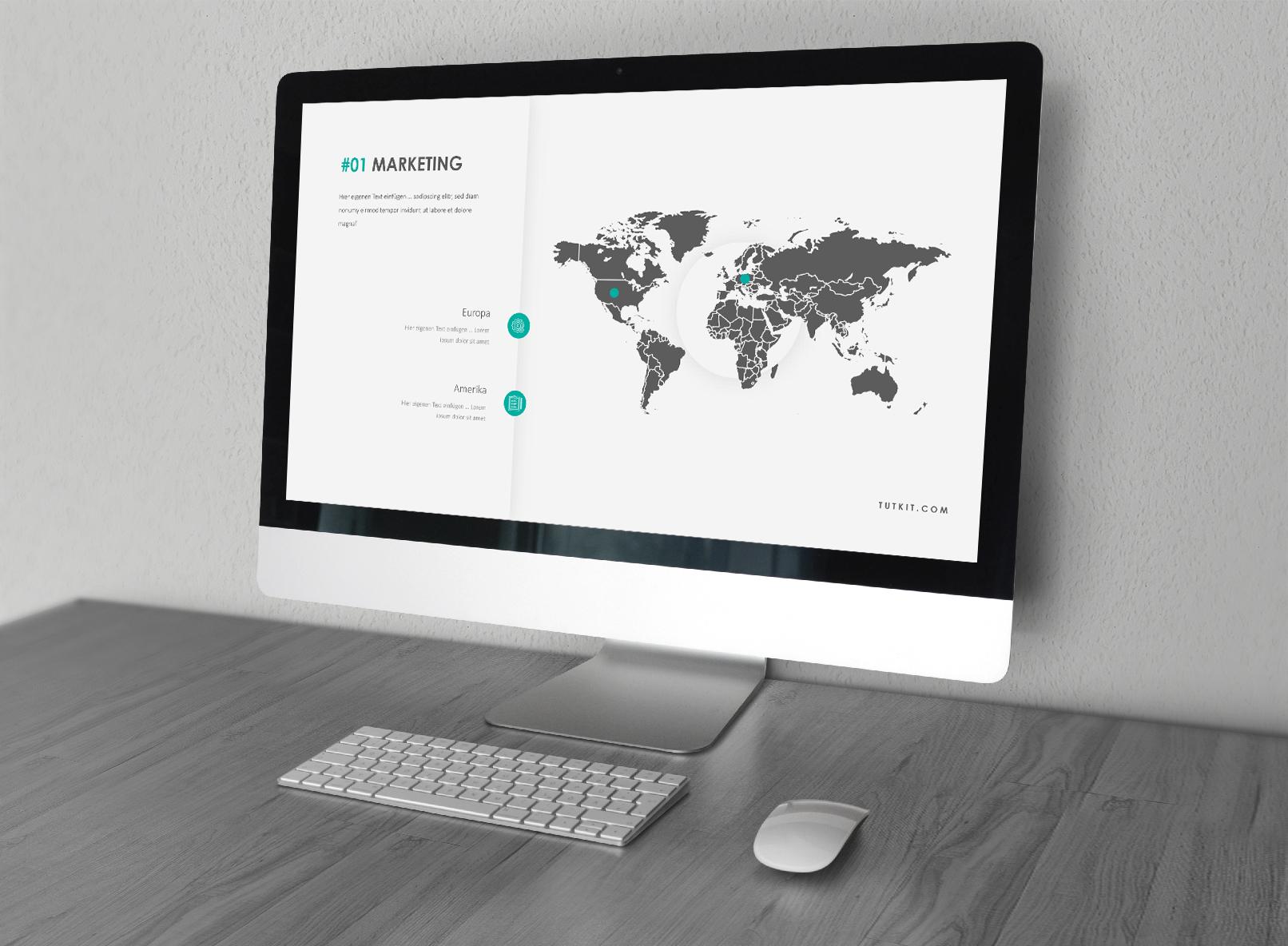 PowerPoint Präsentationsvorlage Air, Folie mit der Grafik einer Weltkarte