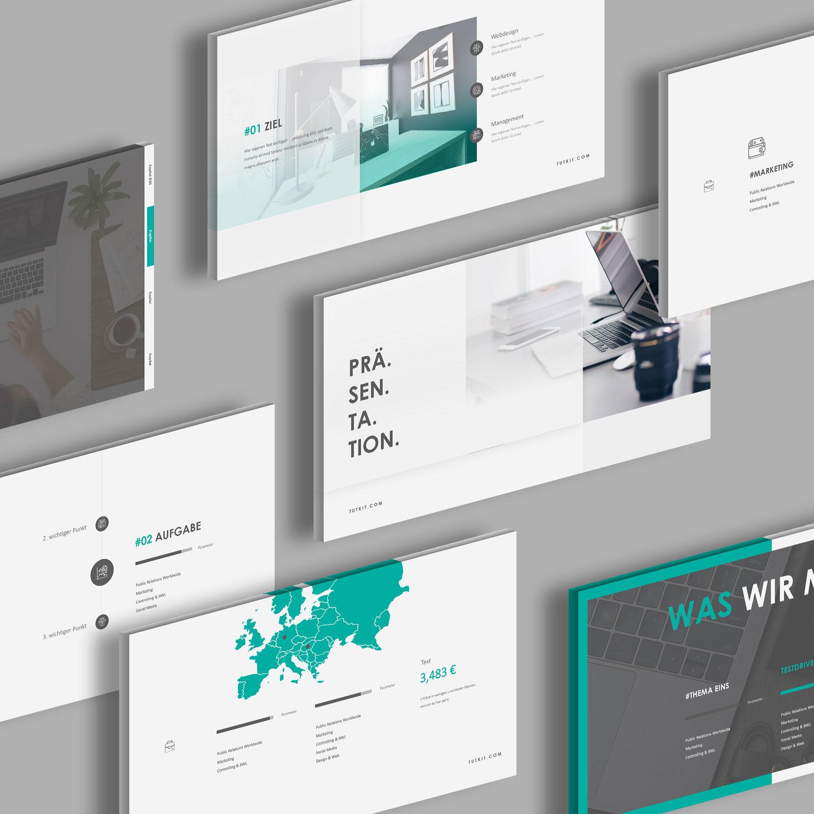 PowerPoint Präsentationsvorlage Air, Vorschau auf verschiedene Layouts