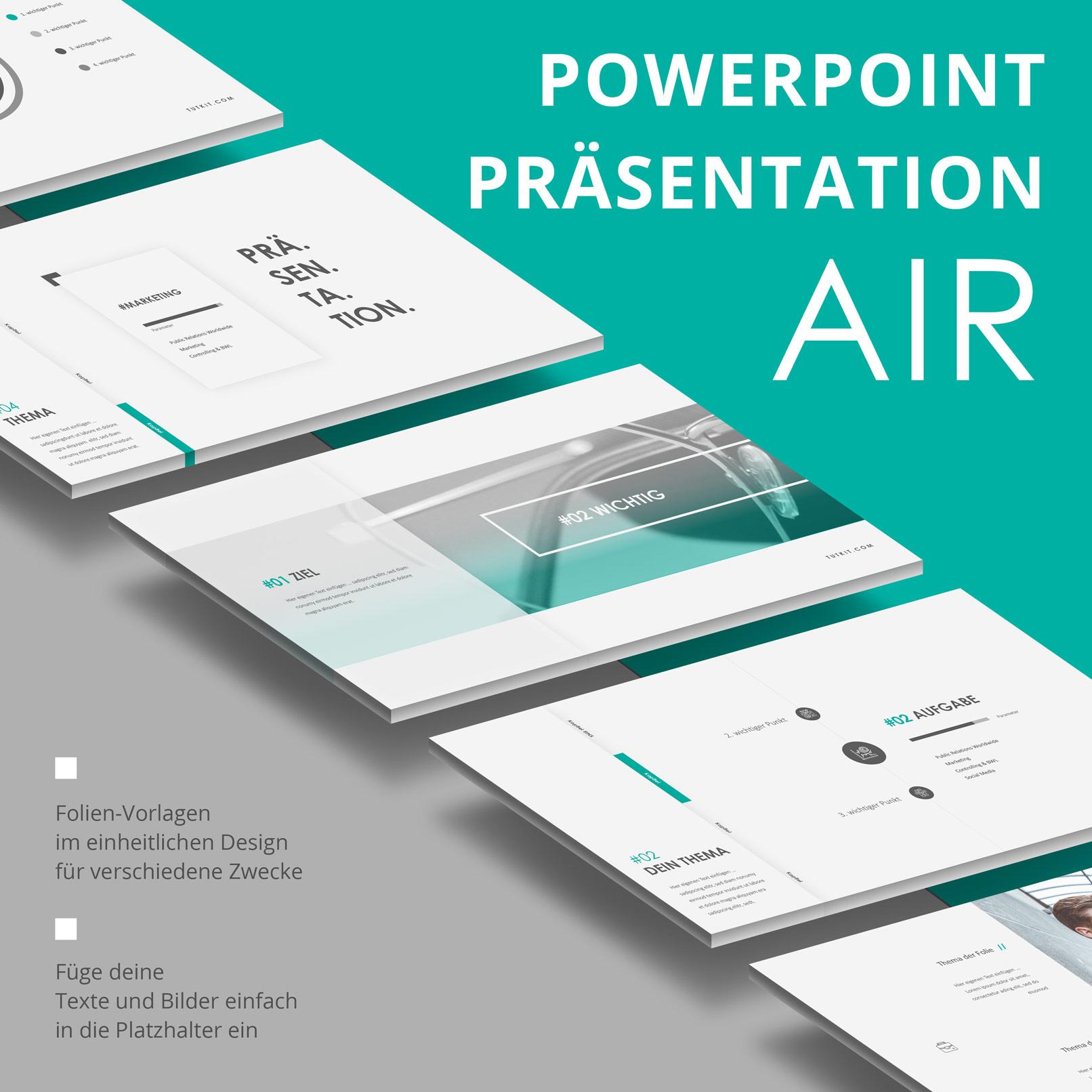 PowerPoint Präsentationsvorlage Air, Vorschau auf mehrere Layouts