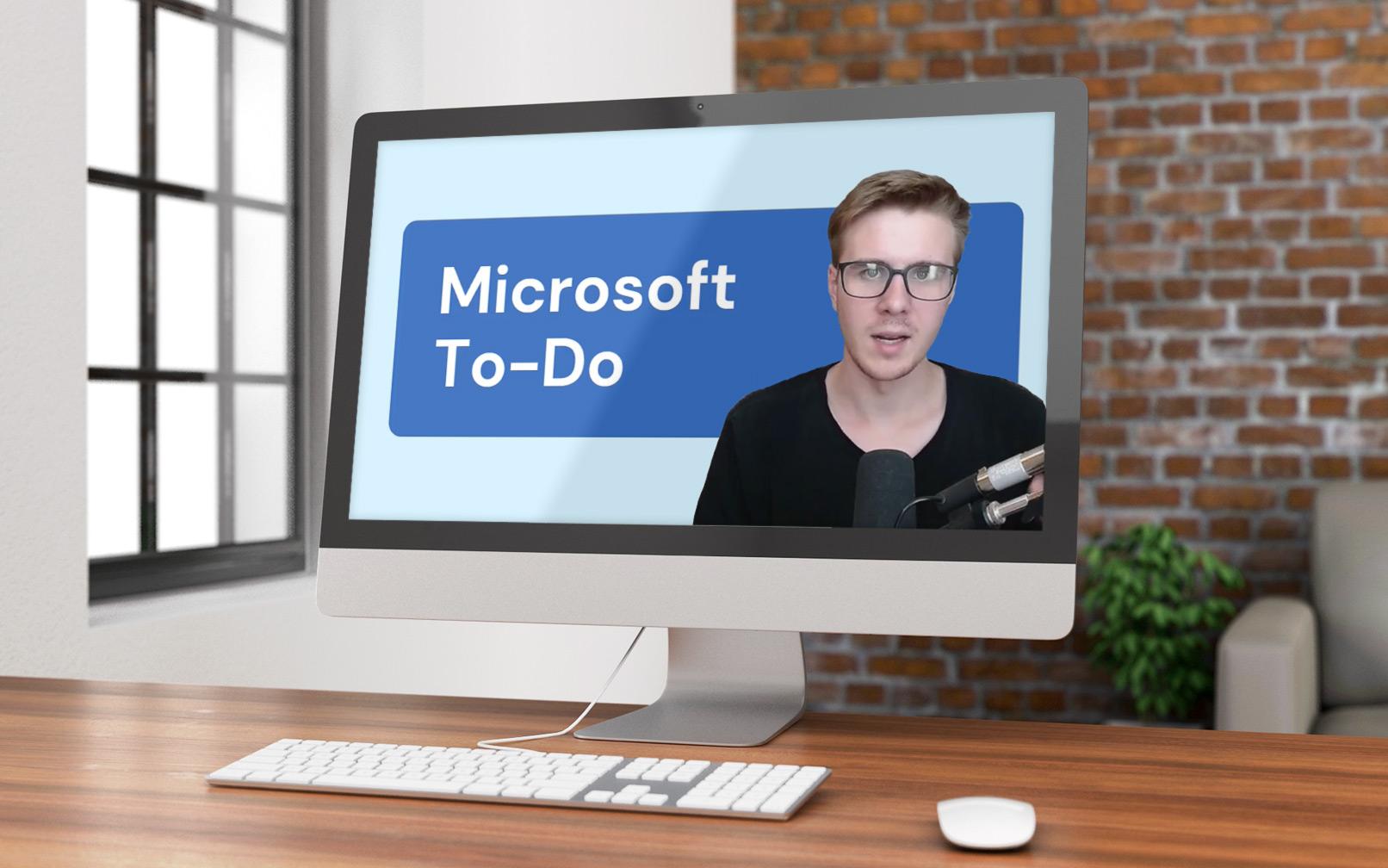 Bildschirm mit Screenshot aus der Microsoft To Do-Video-Anleitung