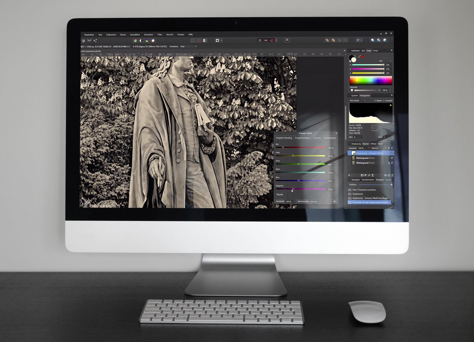 Praxis-Wissen: Live Filter nutzen, (Photoshop-) Pinsel anwenden und Fotos kolorieren.