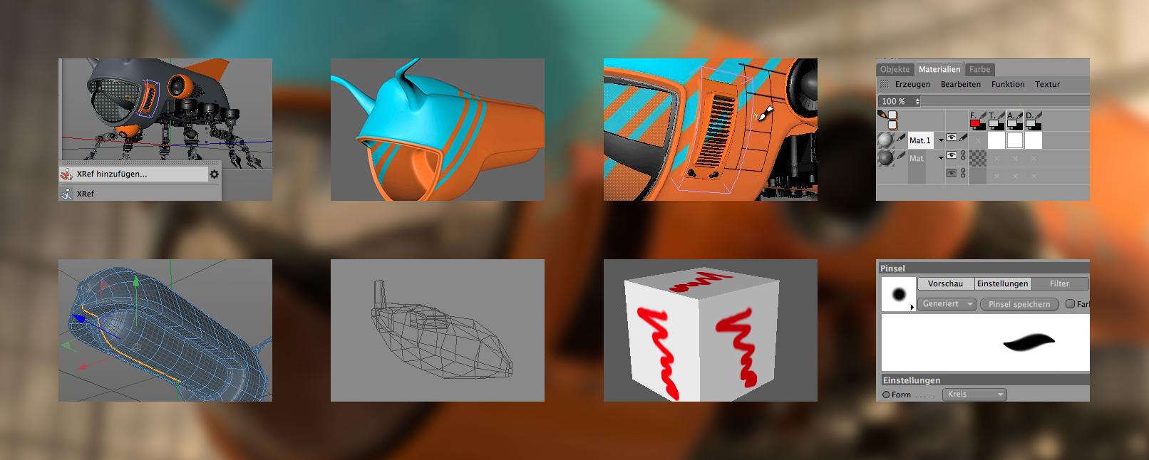 Szenen aus dem Tutorial zu BodyPaint 3D