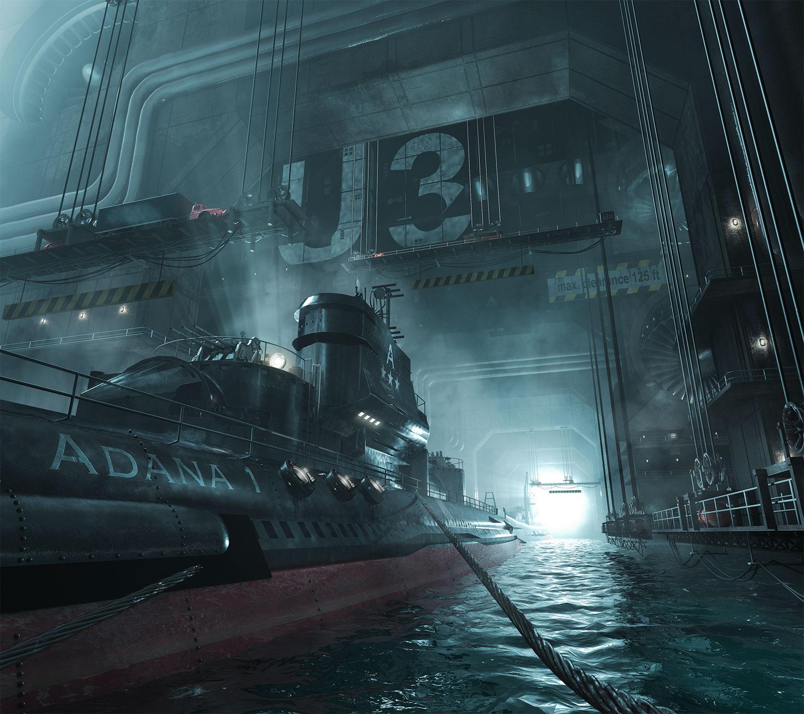 Ein in Cinema 4D erstelltes U-Boot, inklusive Szene, Lichtsetzung und Beleuchtung
