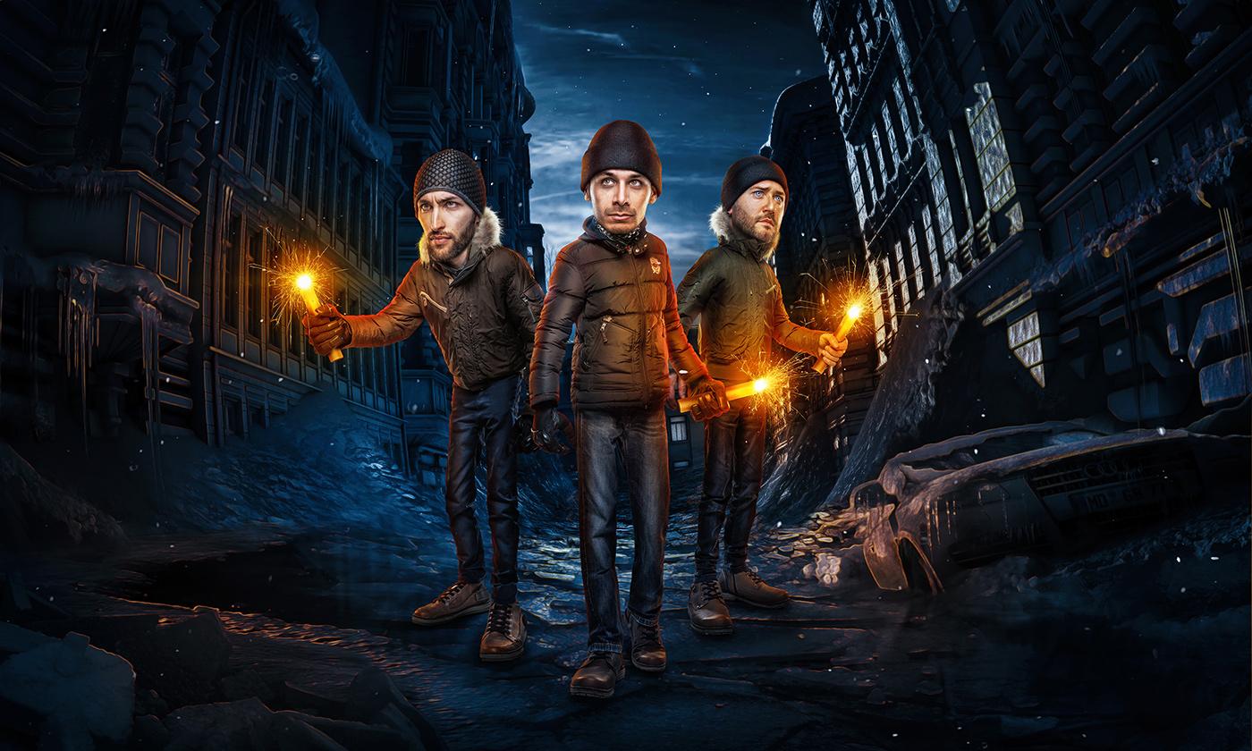 Drei Männer im Photoshop Comic-Style, eingearbeitet in eine Straßenszene.