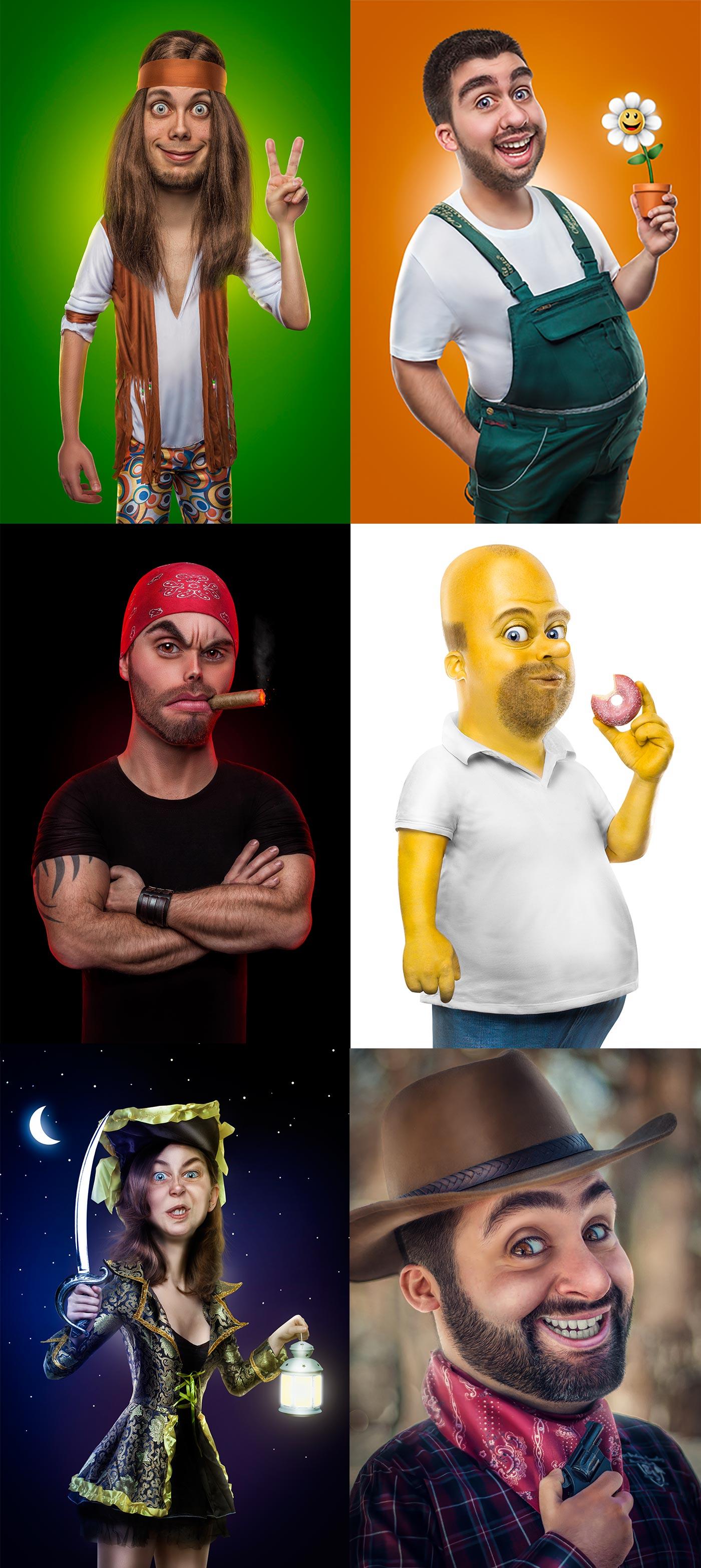 Verschiedene Personen, die mittels Photoshop verfremdet wurden und in einem Comic-Style dargestellt werden.