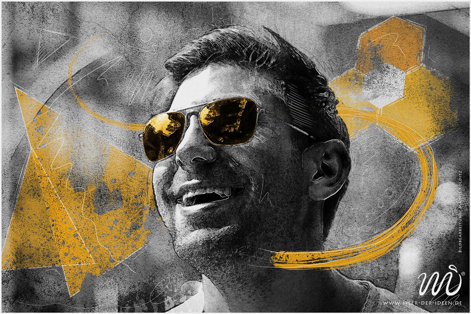 Porträt eines Mannes mit zeichnerischem Look und Scribble-Elementen, bearbeitet in Photoshop, Bild zum Video-Training Porträt-Bearbeitung