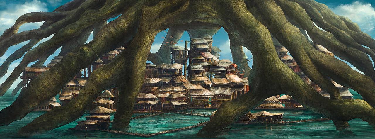 Digital & Matte Painting: Ein in Photoshop gemaltes Szenario, die ein Dorf unter einem Baum zeigt.