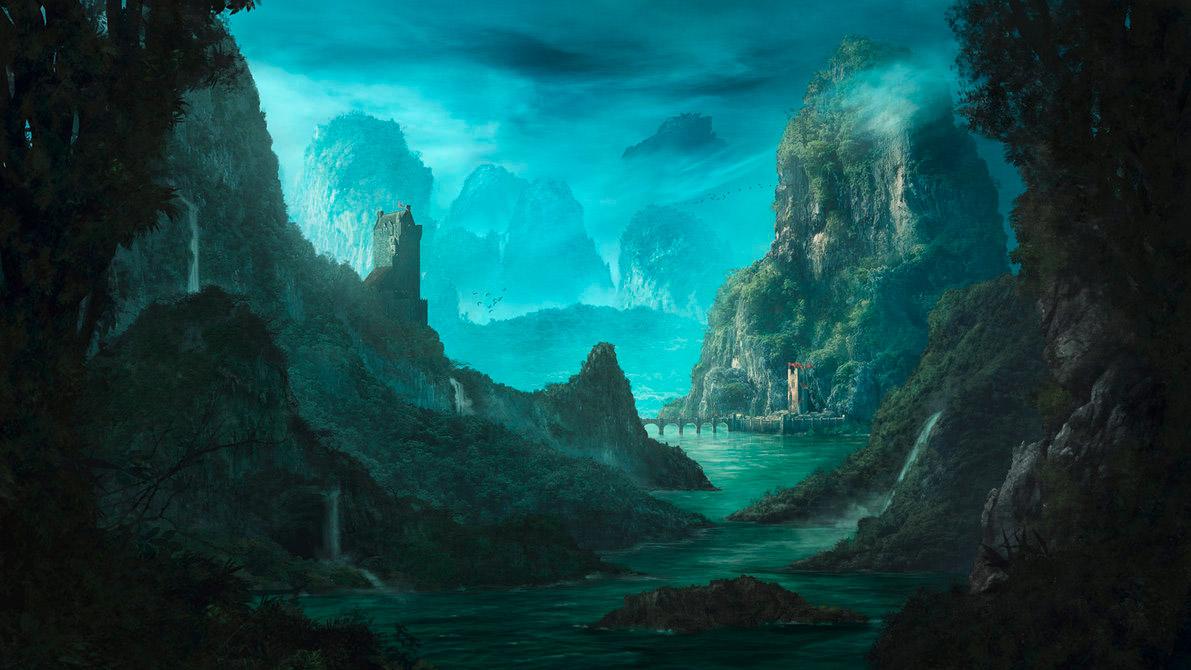 Digital & Matte Painting: Ein Szenario, das mit vielen Pinselstrichen entstanden ist und ein Tal umsäumt von Bergketten zeigt.