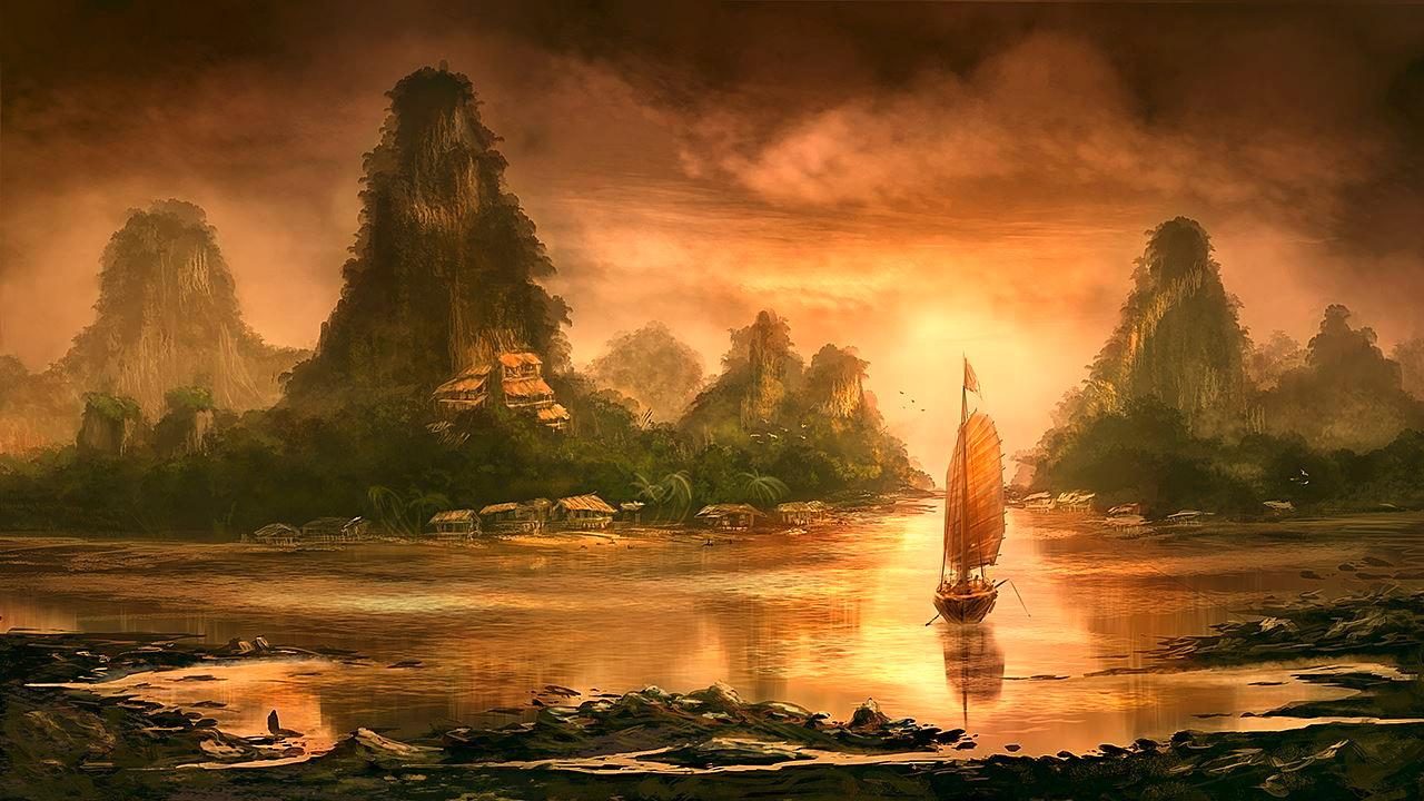 Diese digitale Malerei zeigt ein Schiff im goldenen Schnitt auf einem gemalten Gewässer mit Bergen und Dörfern im Hintergrund.