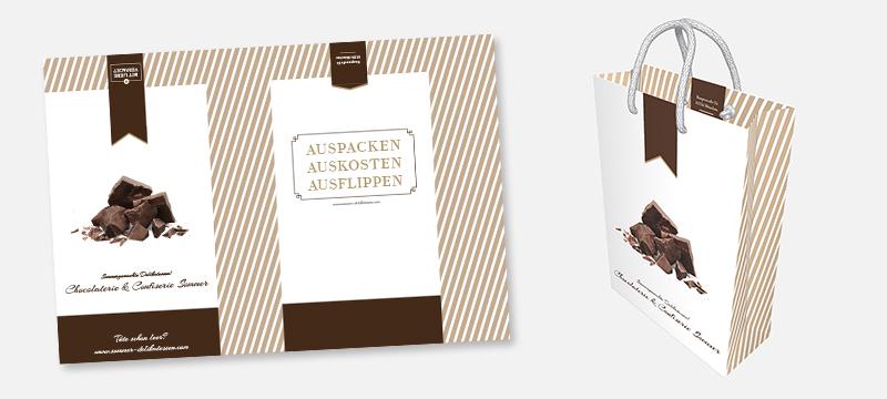 Design für eine moderne Tragetasche aus Papier für den späteren PDF Druck