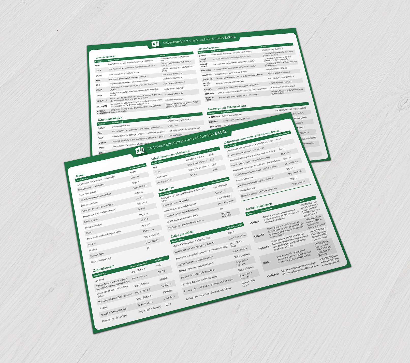 Referenzkarten für Microsoft Excel