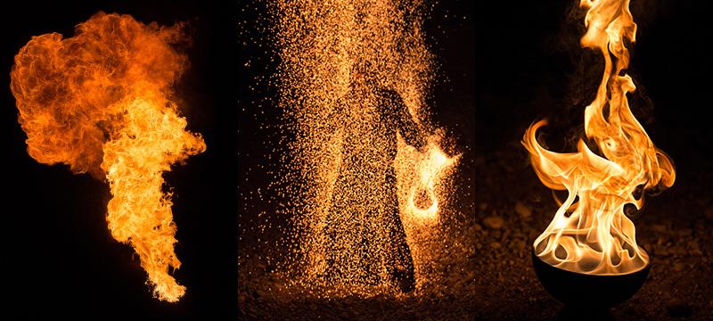 Fotos, in denen die Feuer-Texturen eingearbeitet wurden