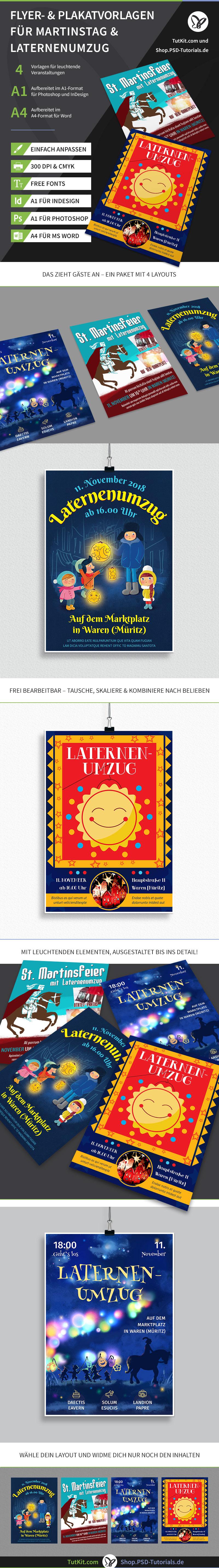 Überblick über die Plakat- und Flyer-Vorlagen zum Thema Martinstag und Laternenumzug