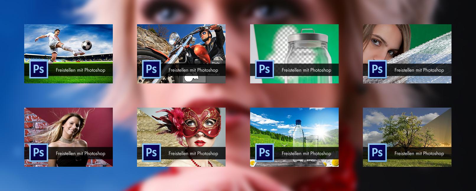 Beispielszenen aus dem Kurs zum Freistellen mit Photoshop von Haar, Person und Objekt