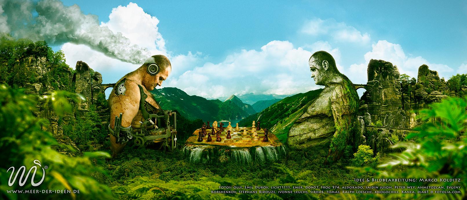 Ein überdimensionales Schachspiel? Der richtige Stoff für eine kreative Fotomontage in Photoshop!