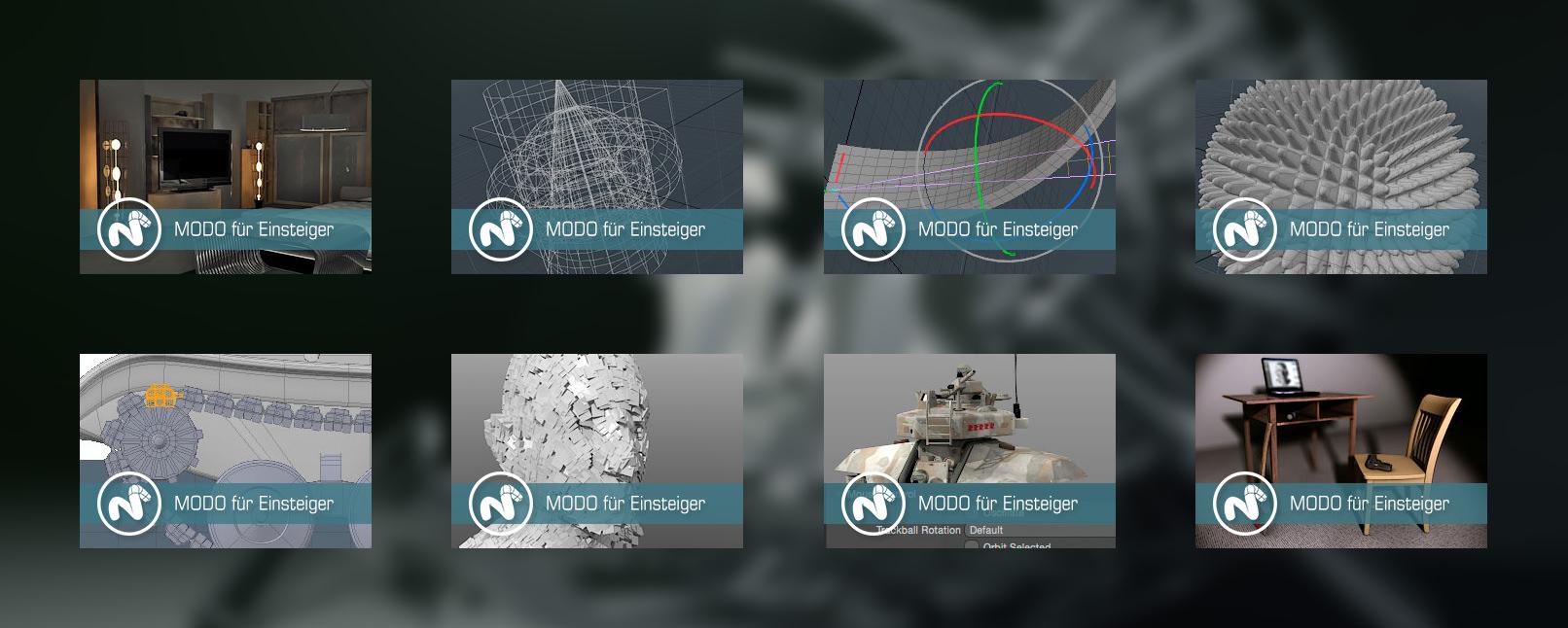Ein Überblick über die verschiedenen Tutorials und Kapitel zu The Foundry MODO: 3D, Sculpting, Rendering