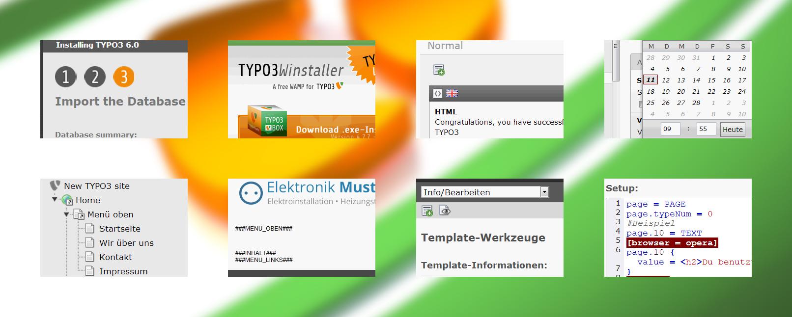 Auszüge aus dem Tutorial und der Anleitung (deutsch) zu TYPO3 lernen